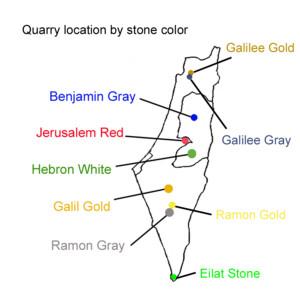 Locations of Jerusalem Stone Quarries