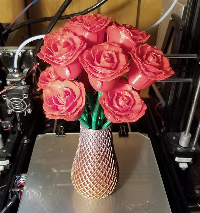 Red 3d Printed Roses