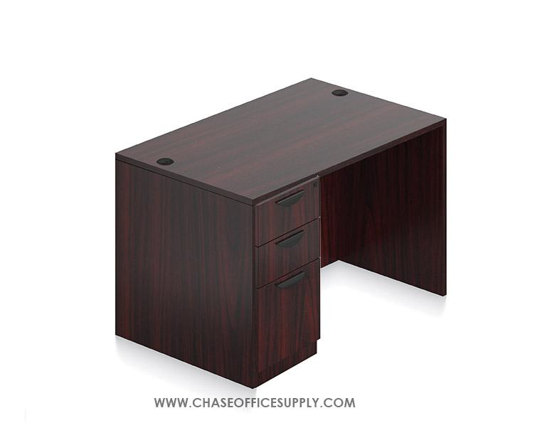 SL3048DS - DESK 30D x 48W x 29H  SINGLE LEFT OR RIGHT PEDS - MAHOGANY *MKPD - IN STOCK FOR FAST DELIVERY!