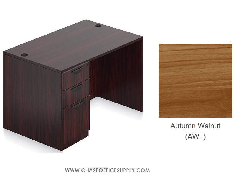 SL3048DS - DESK 30D x 48W x 29H  SINGLE LEFT OR RIGHT PEDS - WALNUT *MKPD - IN STOCK FOR FAST DELIVERY!