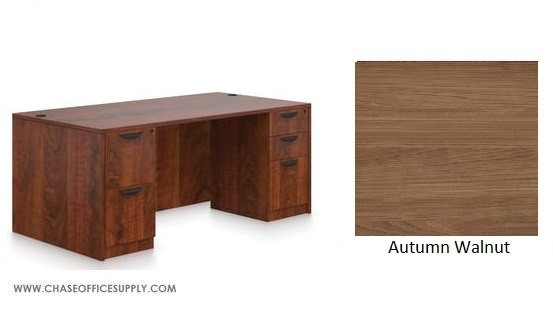 SL3060DS - DESK 30D x 60W x 29H  DOUBLE PEDS - WALNUT *MKPD - IN STOCK FOR FAST DELIVERY!