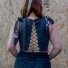 espalda de corset jeans reciclado