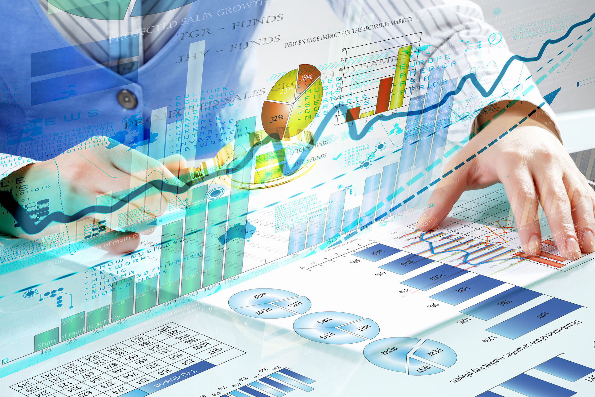 49145516 – close up of business person investigating infographs with magnifier