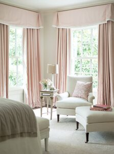 pink drapes southern style home