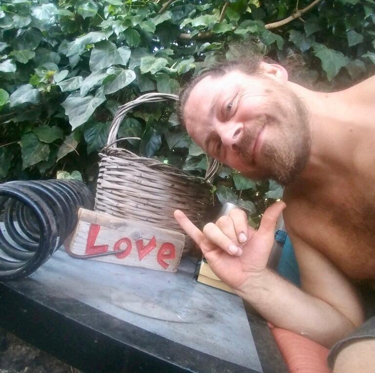 Drum circle facilitator Alan Bruni, feelin the LOVE
