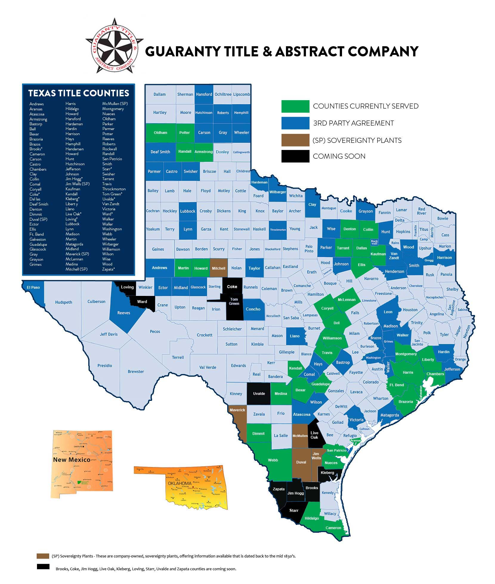 Counties in Texas served by Guaranty Title & Abstract Company in Alice