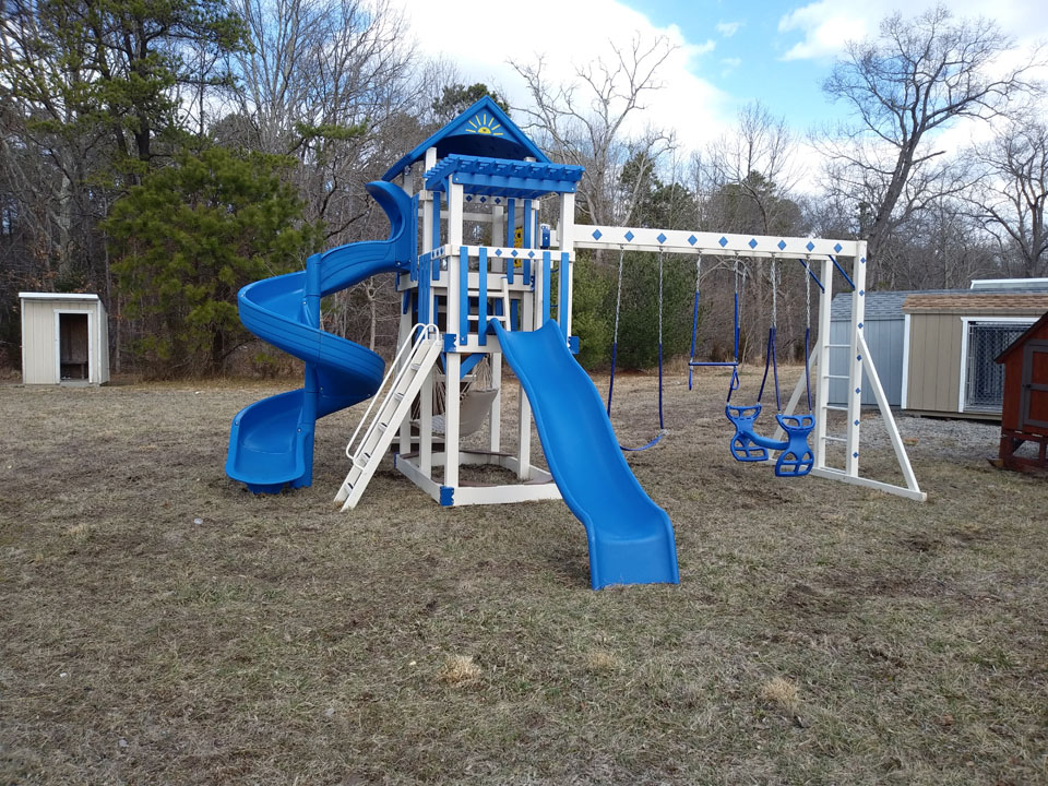 Blue and white playset with slides