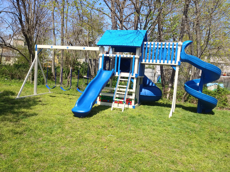 blue playset with slides