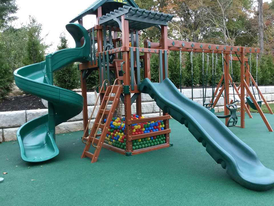 playset with slides and ball pit