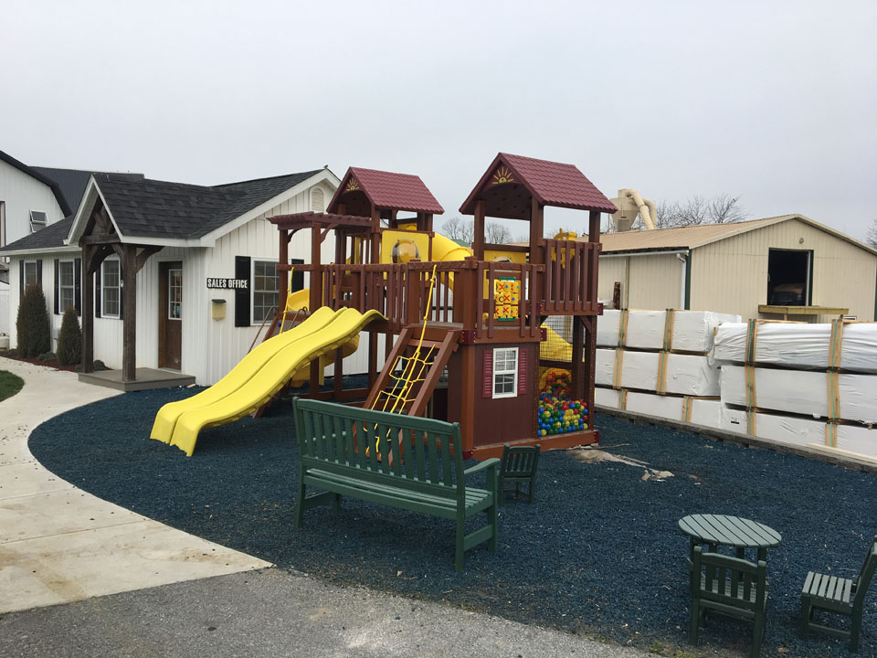 playset on teal mulch