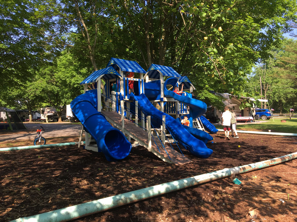 playset with many slides