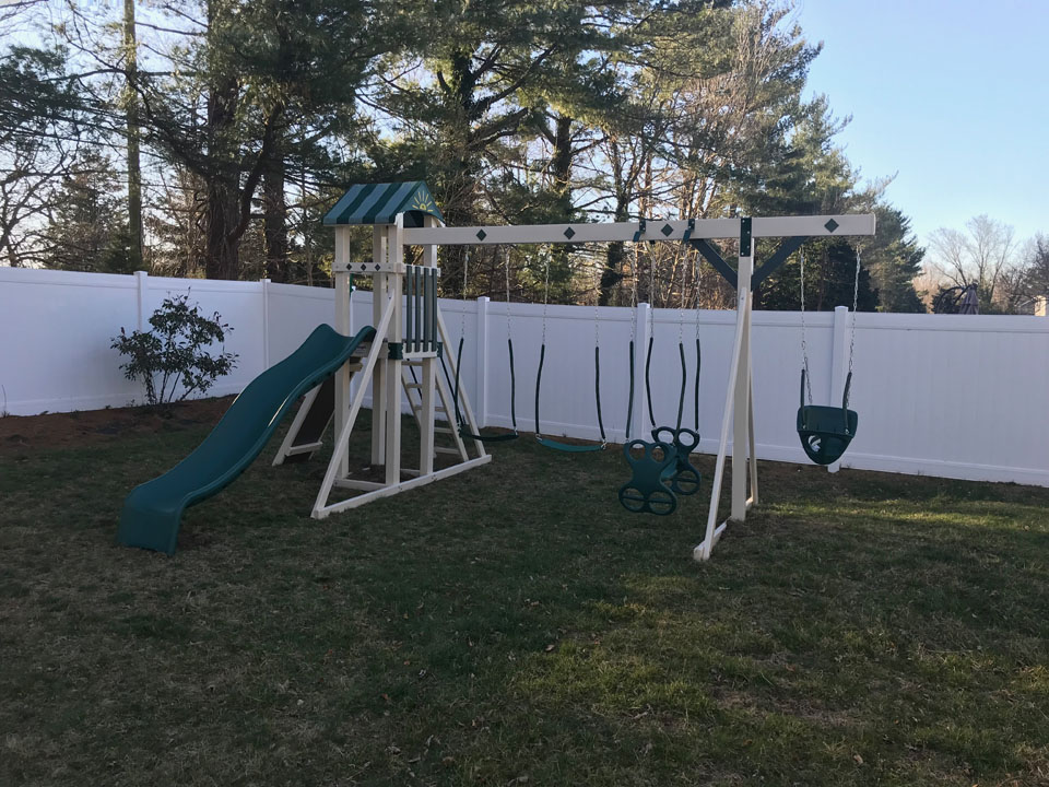 green and white playset