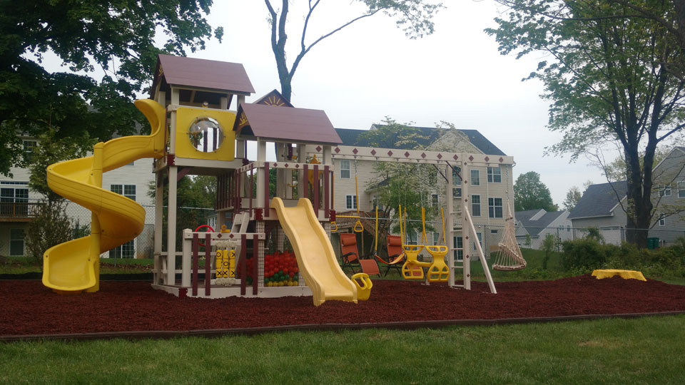 playset with red mulch