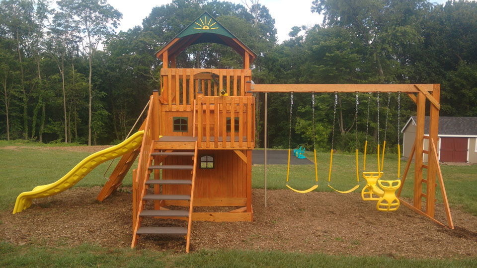 playset with natural mulch