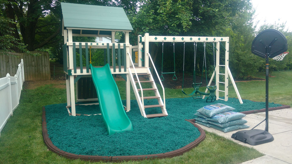 playset with green mulch