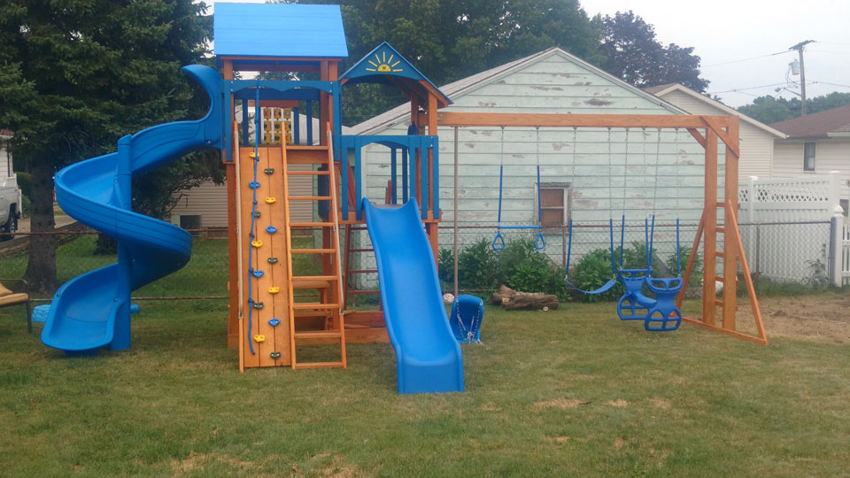 playset with 2 slides