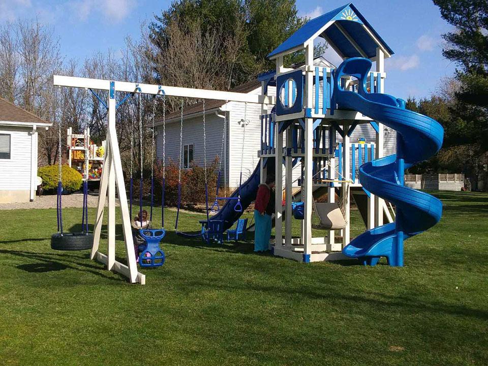 backyard playset with 2 slides