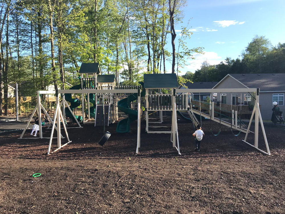 outside playset green and beige