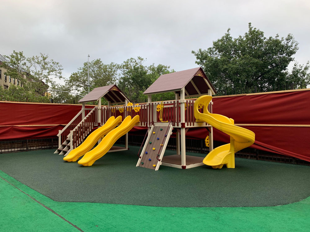 red and yellow playset