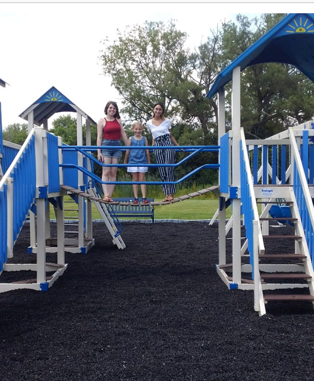 blue and white playset