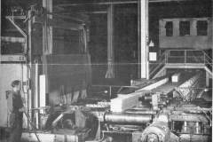 Ingot Leaving Furnace on Approach Tables to No 2 Blooming Mill [MA-5-14-1945]