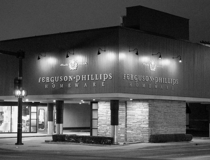 Black and white image of Ferguson-Phillips storefront.