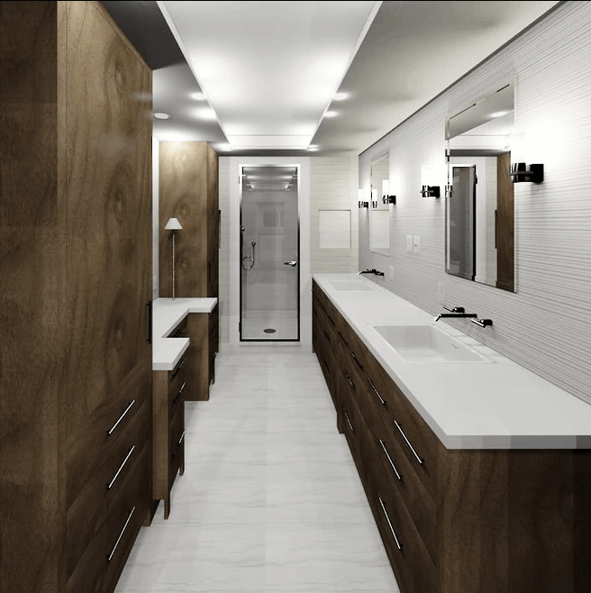 3D rendering of the proposed design for a remodeled bathroom.