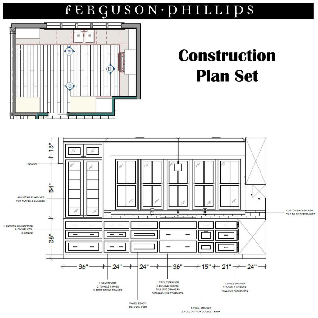 Example construction plan set for remodeling a bathroom.