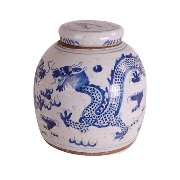 Blue and White Dragon Jar by Avala International