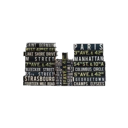 Vintage Bus Roll Sign Series Book New York Paris