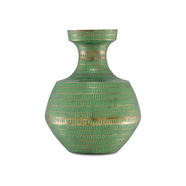 Green vase with gold decoration