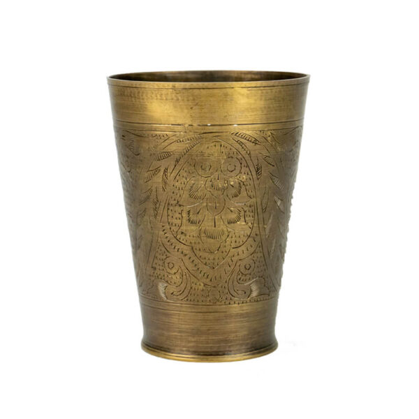 Vintage brass etched lassi cup