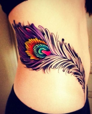 peacock-feather-tattoo-hips-ribs