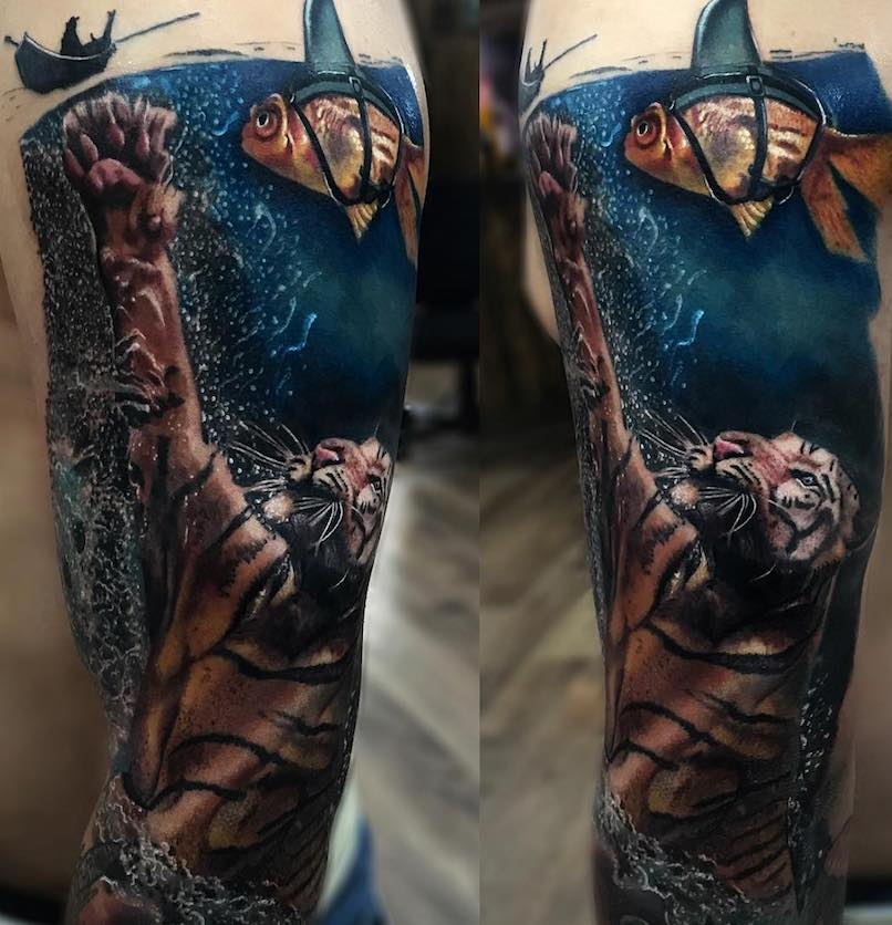 Carlox Angarita tiger in water tattoo