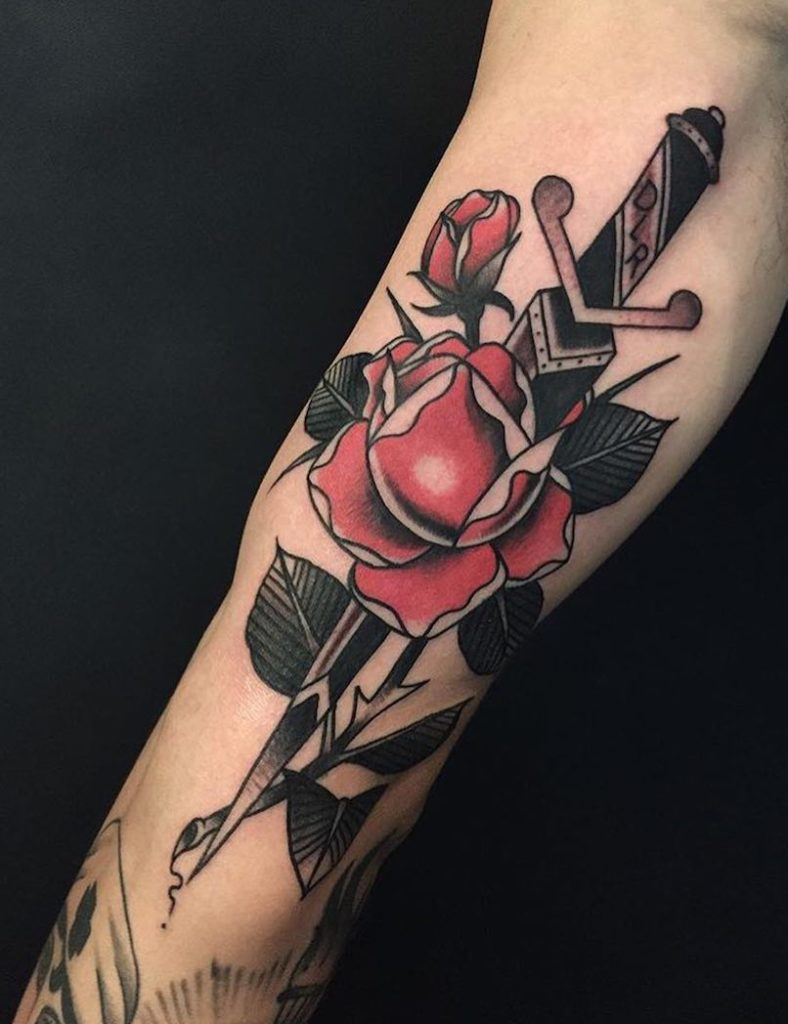 Dagger tattoo by Derick Montez