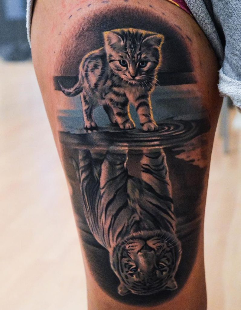 Martin Sjöberg cat with tiger reflection tattoo