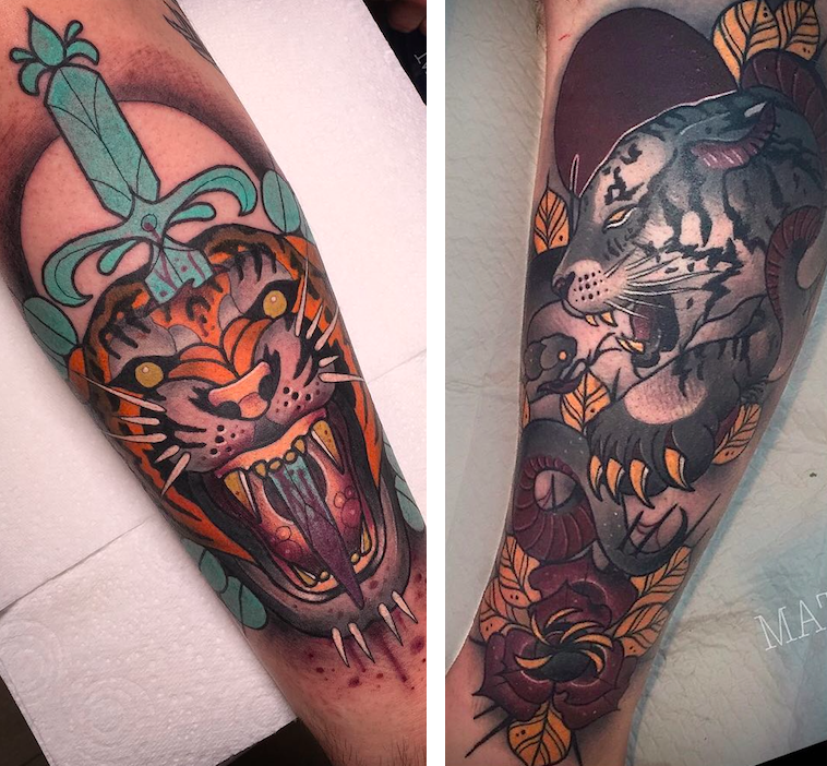 Matt Curzon tiger tattoos