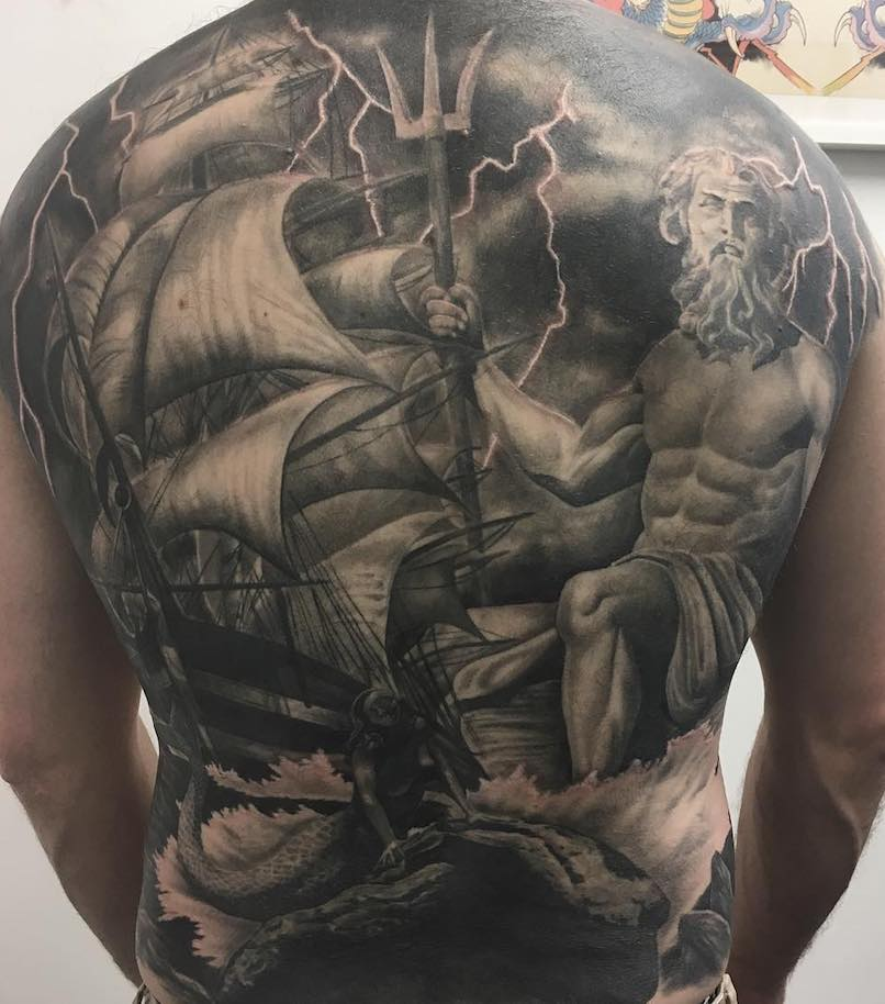 Poseidon back Tattoo, black and grey by Gavin Dunbar