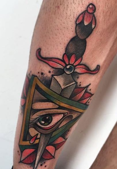 dagger and eye tattoo by Mattia Manigas