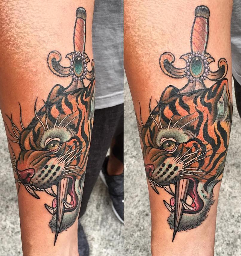 Tiger and Dagger Tattoo by Agus Tan