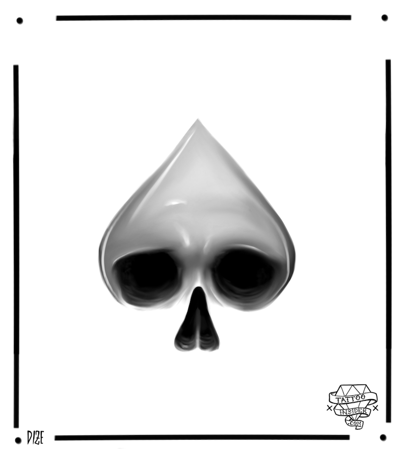 Ace of Spades Skull Tattoo Design