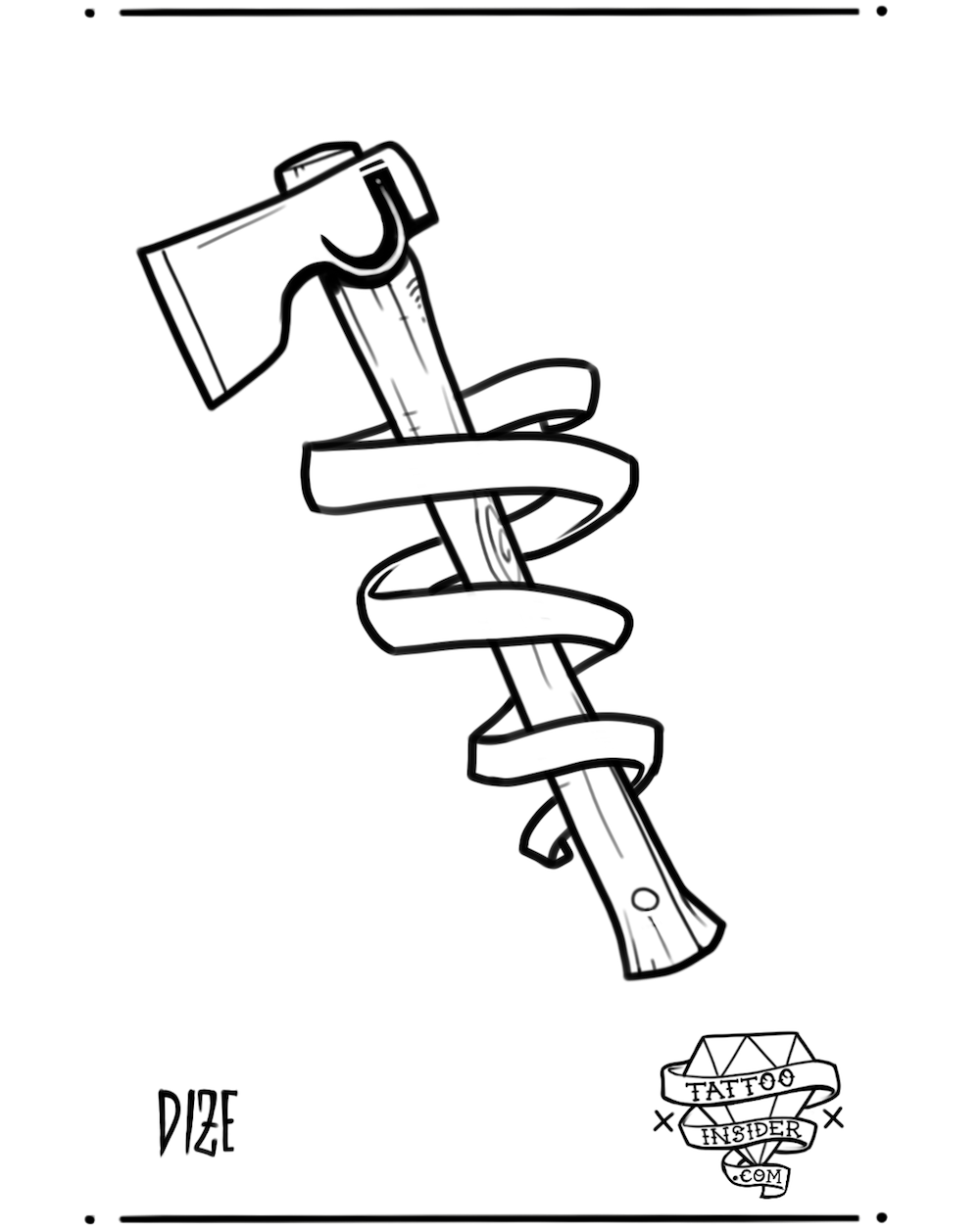 Axe with Banner Tattoo Design