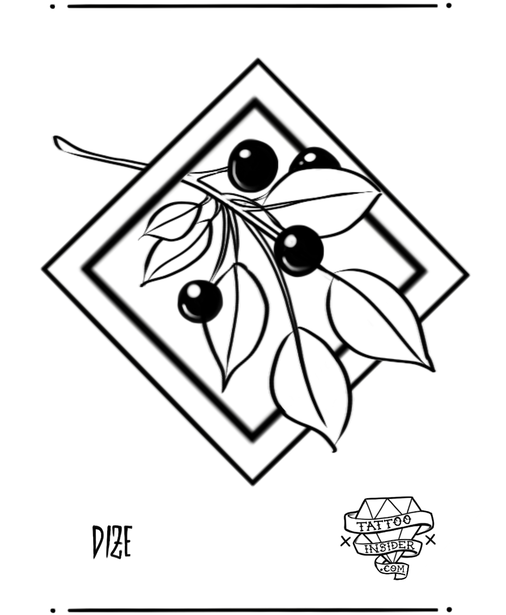 Berry Branch Tattoo Design
