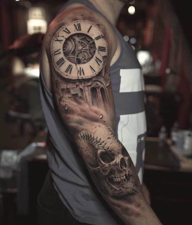 Clock Tattoo Sleeve by Darwin Enriquez