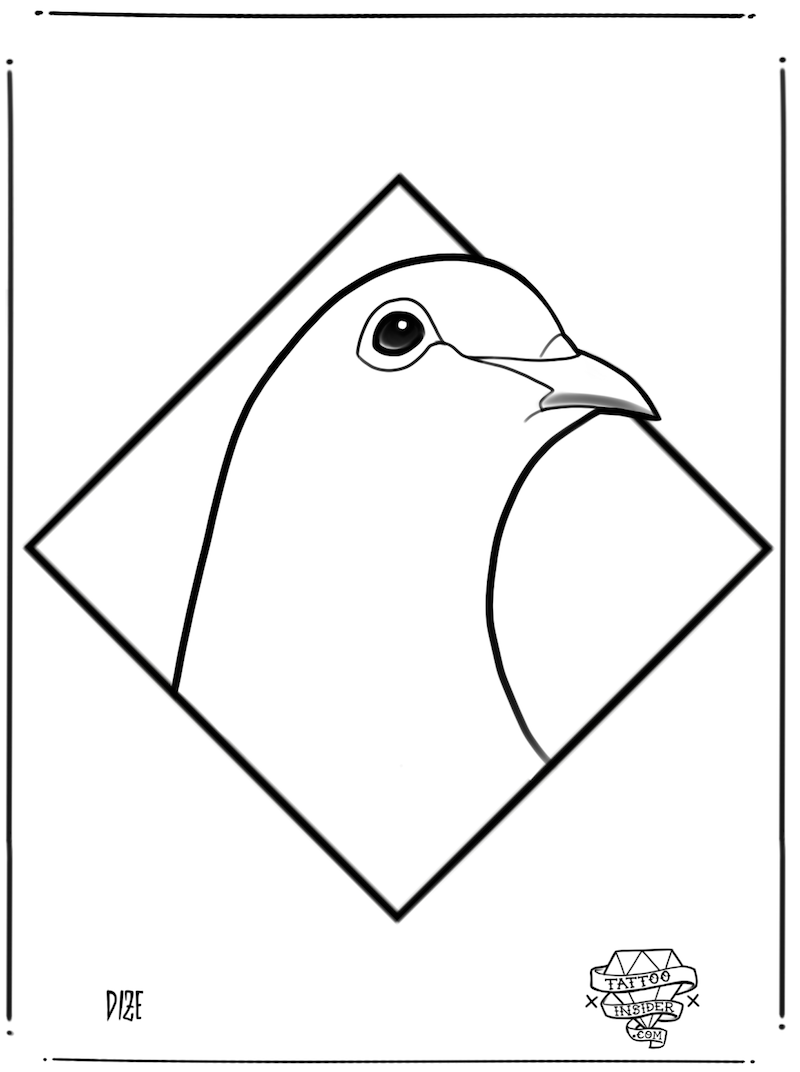 Line Dove Tattoo Design
