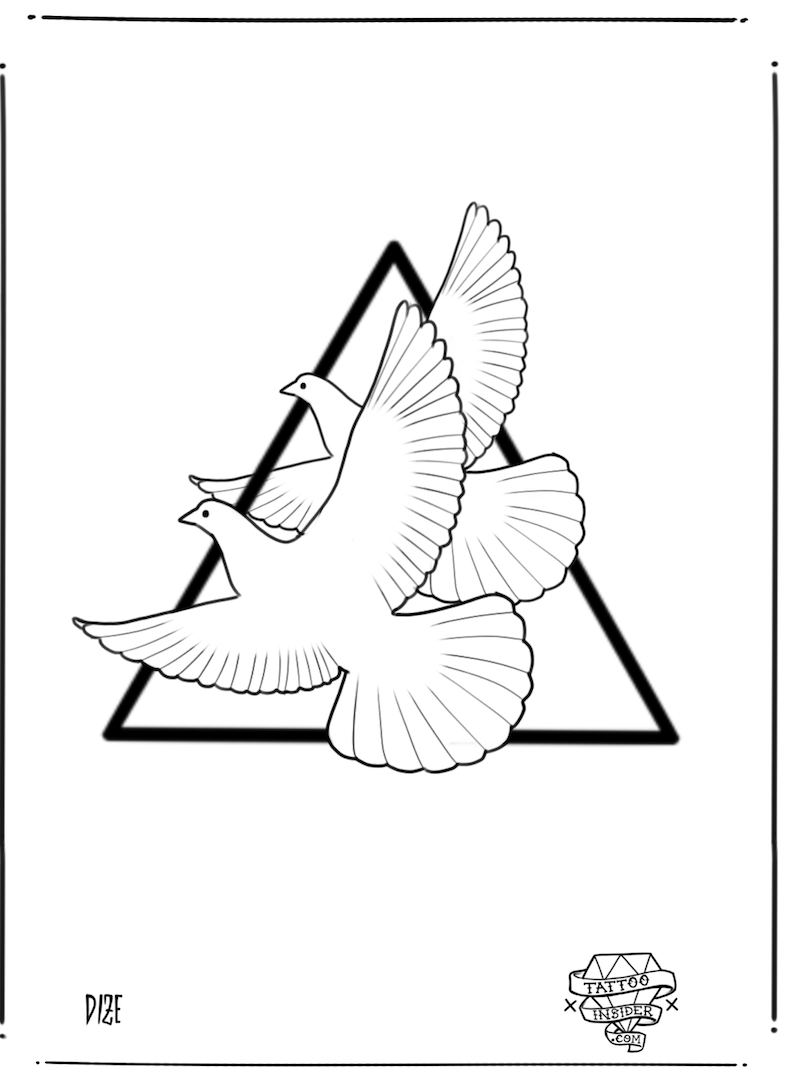 Line Turtle Doves Tattoo Design