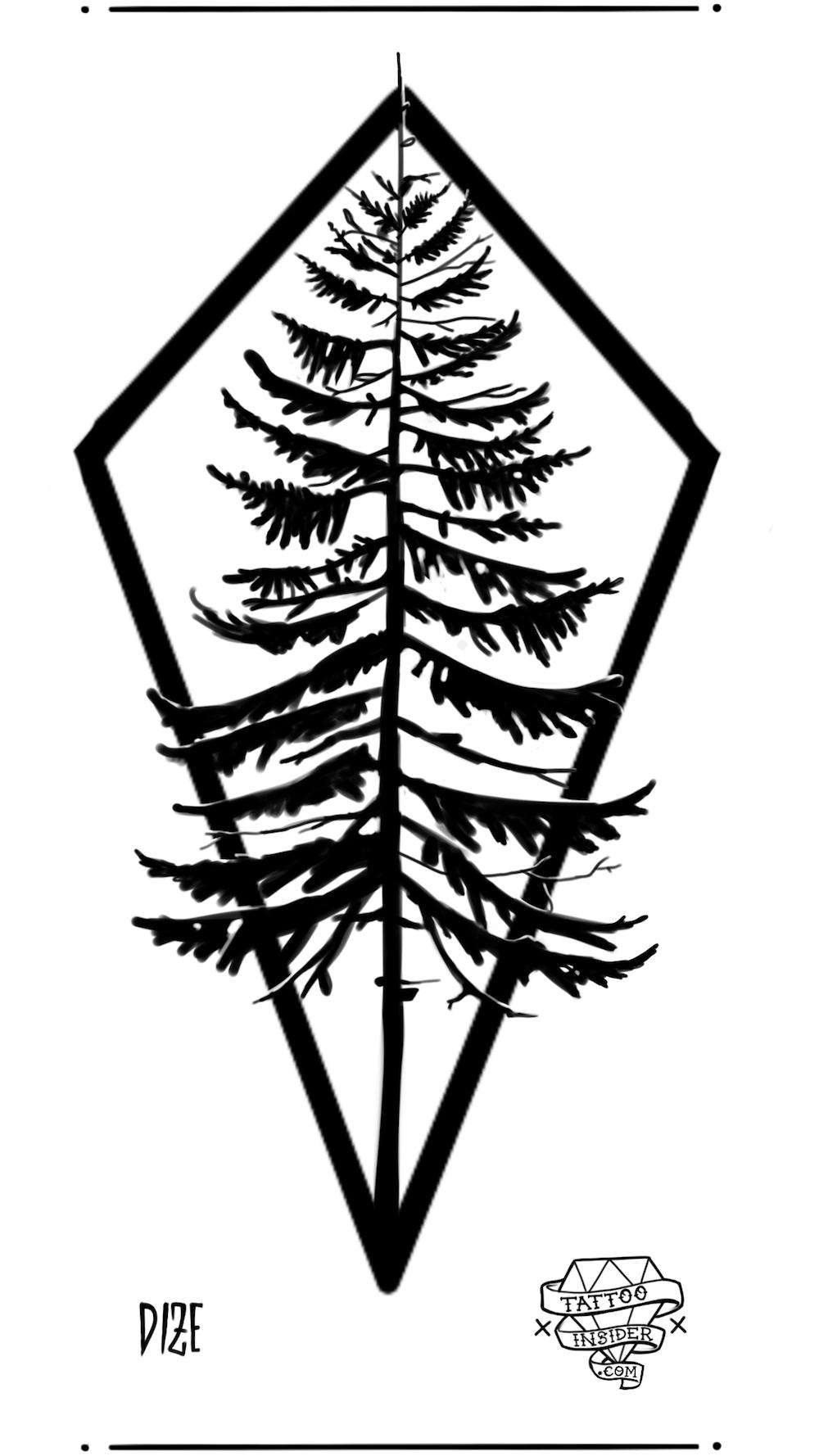 Pine Tree Tattoo Design
