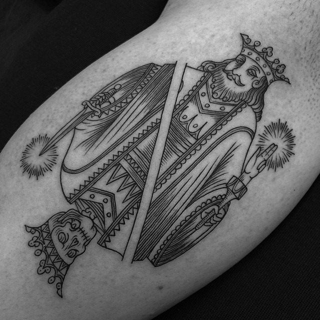 Skeleton and King Tattoo by Toma Pegaz