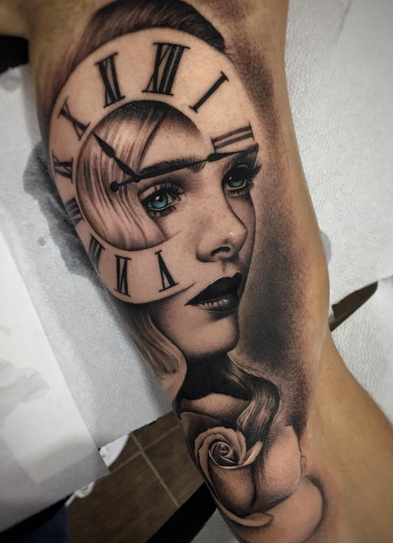 Woman and Clock Tattoo by Milker Cordova