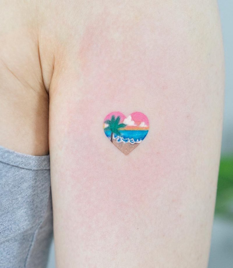 Beach Heart Small Tattoo by Zihee Tattoo
